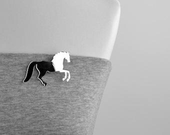 Plastic horse mirror brooch shape horse