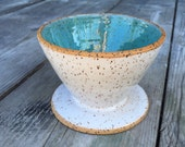 In stock reafy to ship gift Coffee pour-over ceramic in speckled turquoise and white