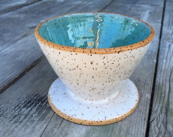 drip Coffee pour-over ceramic in speckled turquoise and white