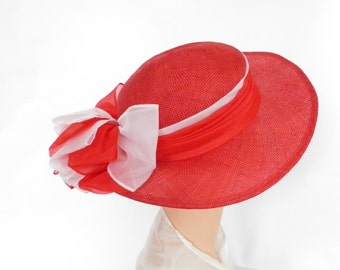 Vintage red straw hat, huge white and red bow, Rine Chapeaux