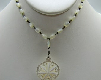 Vintage 1930s Carved Mother of Pearl Bethlehem Star Pendant Necklace. Hand Carved In The Holy Land Spiritual Jewelry. Bridal Wedding Jewelry