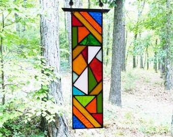 Stained Glass abstract art glass suncatcher glass art home decor home and living art and collectibles
