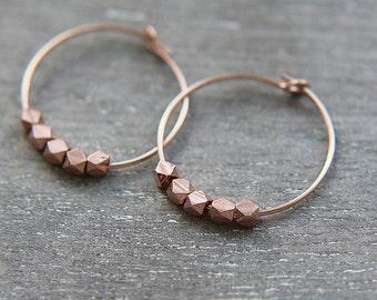 SALE, Hoop Earrings, Rose Gold Hoop Earrings, Rose Gold nugget earrings, Rose Gold Vermeil Tiny Nugget Beads, Nuggets Earrings, Gift for Her