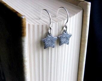 SALE, Star Earrings, Sterling silver Star, Sterling Silver Earrings,Tiny Star Earrings, Rustic Star Earrings, Simple Earrings, Star Jewelry