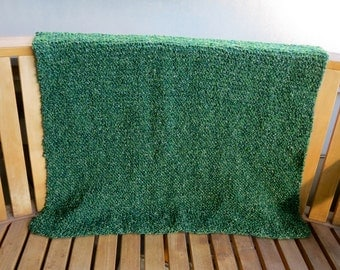 Hand Knit Baby Blanket- Forest Green
