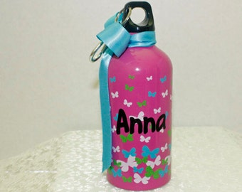 GIRL'S WATER Bottle ~ Hot Pink/Colorful Butterflies ~ Ready for Your Personalization!