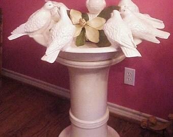 SALE!! Stunning Life Size Porcelain Ceramic Birdbath Surrounded with White Doves - OOAK