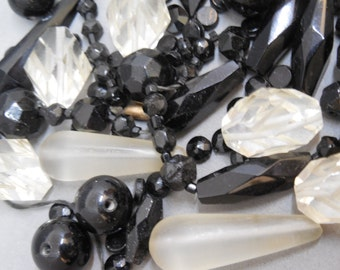 Mixed Lot of Large BLACK & CLEAR Flapper Beads from Broken Necklace