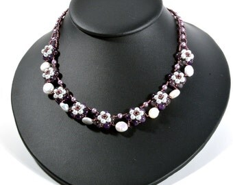 Purple Flowers Necklace