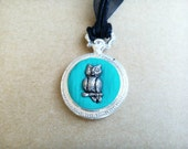 Silver and Turquoise Owl Fob Watch Pendant, Polymer Clay