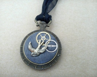 Bronze and Grey Steampunk Swallow Fob Watch Pendant, Polymer Clay