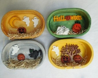 Hand Painted Shadow Box Ceramic Halloween Refrigerator Magnets