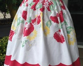 Upcycled Apron Made From Vintage Tablecloth, Red, Yellow and Green, Matching Potholder