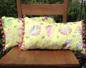 Set of two sea shell green pillows