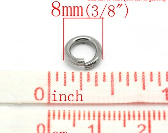 100 pcs Stainless Steel Open Jump Rings 8mm - 15 Gauge - THICK - HEAVY - High Quality