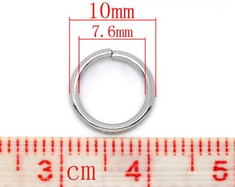 200 pcs Stainless Steel Open Jump Rings 10mm - 16 Gauge - THICK - HEAVY - High Quality