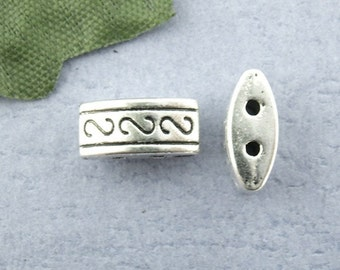 50 pcs. Antique Silver Two Hole 2 Holes Filigree Spacer Beads - 10mm X 5mm X 4mm