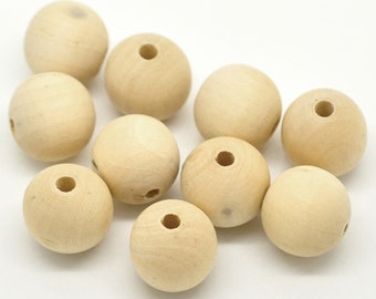 """50 pcs Natural Wooden Round Spacer Beads - 20mm (3/4"""")"""