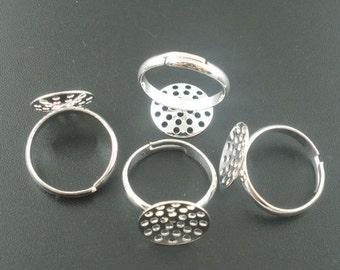 9 pcs. Silver Plated ADJUSTABLE RING BASES - Glue Pad 14 mm - 17.5mm (Ring Size 7)