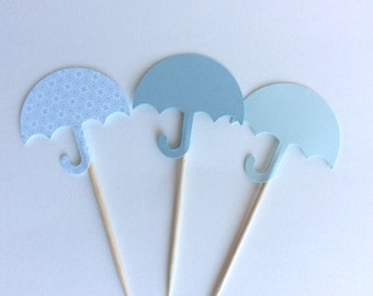 12 Mixed Blue  Umbrella baby shower Cupcake Toppers