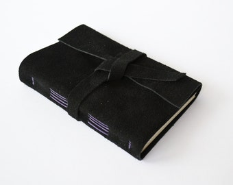 Black Sketchbook, Suede Journal with Blank pages, Unlined Notebook, Gift for Him, Gift for Husband, Gift for Boyfriend, Sketch book 4x6