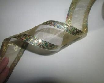 Wired Gold Metallic Ribbon, 2.5 inches wide, Christmas ribbon, craft ribbon  6 yard length