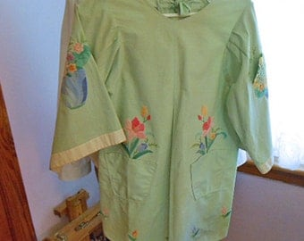 Lime Green TEA SMOCK BLOUSE Golden Sunflower, Rose Lily & Pink Phlox Appliques, Blue Vase Pockets 70's Unworn Cotton Vintage Birthday Gift S