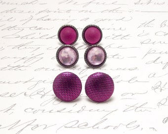 Fuchsia Pink Stud Earrings. Set of Pink Post Earrings. Tiny Stud Earrings. Small Round Pink Earrings. Everyday Simple Jewelry.