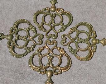 Vintage Cast Aluminum Hoda Wall Hanging Medallion 4 Pieces Architectual Green