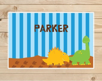 Dinosaur Placemat - Kids Personalized Dinosaur Placemat - Dino Laminated Placemat for Kids