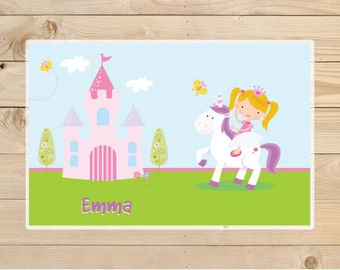 Kids-Personalized-Placemat---Personalized-Unicorn-Placemat-for-Girls---Unicorn-and-Castle-Laminated-Placemat-for-Girls
