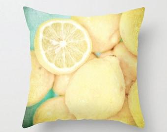Pillow Cover, Lemons, Food, Yellow, White, Turquoise, Yellow, Macro, Decorative Throw Pillow Cover, fPOE, 16x16, 18x18, 20x20