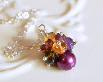 Autumn Jewelry, Sterling Silver Necklace, Citrine Amethyst, Gemstone Cluster, Real Stones, Mulberry Freshwater Pearl, Free Shipping