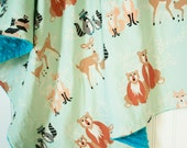 Minky Baby Blanket - Oh Hello Meadow - Personalization Available - Toddler Blanket - Fox Baby Blanket