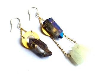 Asteria Earrings - quartz crystal