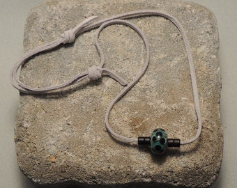 Handmade, Adjustable Necklace with Black and Teal Lampwork Glass Bead