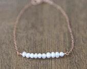 Rose Gold Pearl Bar Bracelet / everyday simple minimalist jewelry