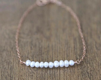 Rose Gold Pearl Bar Bracelet / everyday simple minimalist jewelry