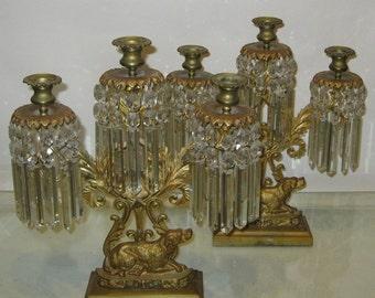 Pair of Victorian Gilt Prism Candlesticks, w/ Irish Setters