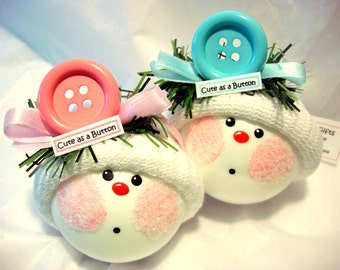 Baby Christmas Ornaments Cute As A Button 2017 Pink Blue Color Choice Hand Painted Personalized Themed by Townsend Custom Gifts - 77
