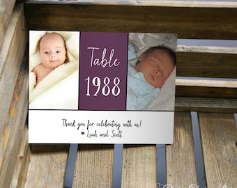 Table Number Card with Two Photos and Year - Three Panel Design - 5x7 or 4x6 Card