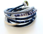 Navy blue boho bracelet , fiber blue bracelet, wrapped eco-friendly bracelet