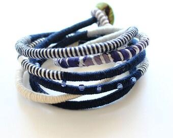 Navy blue boho bracelet , fiber blue bracelet, wrapped eco-friendly bracelet, boho chic jewelry