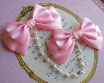 Sweet Lolita Hair clips pink bows with white pearl beads fairy kei