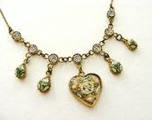 Romantic antique micromosaic heart necklace Italian souvenir