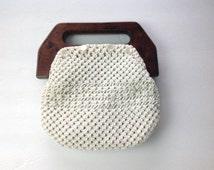 70s Macrame Bag De'Lanthe Bermuda Bag Vintage 70s Hippie Bag Small Cream Clutch