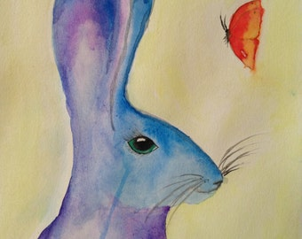 Original Watercolor Rabbit with Butterfly