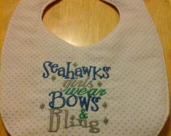 Seahawks Girls Wear Bows & Bling Embroidery Handmade Baby Bib