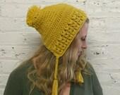 Slouchy Bonnet Hat - Slouchy Earflap Beanie - Mustard Yellow Baggy Hat