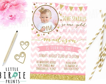 GOLD and PINK First Birthday Invitation Chevron Glitter Confetti Sparkle Bunting Printable File Any Age Photograph